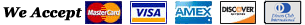 We Acccept MasterCard Visa, Amex, Discover, and Diners Club Cards